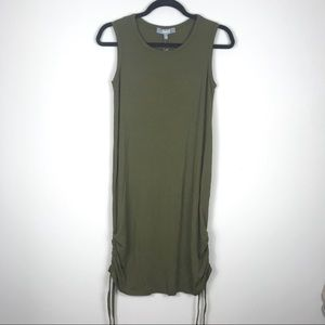 Marled by Reunited Green Sleeveless Rouched Dress